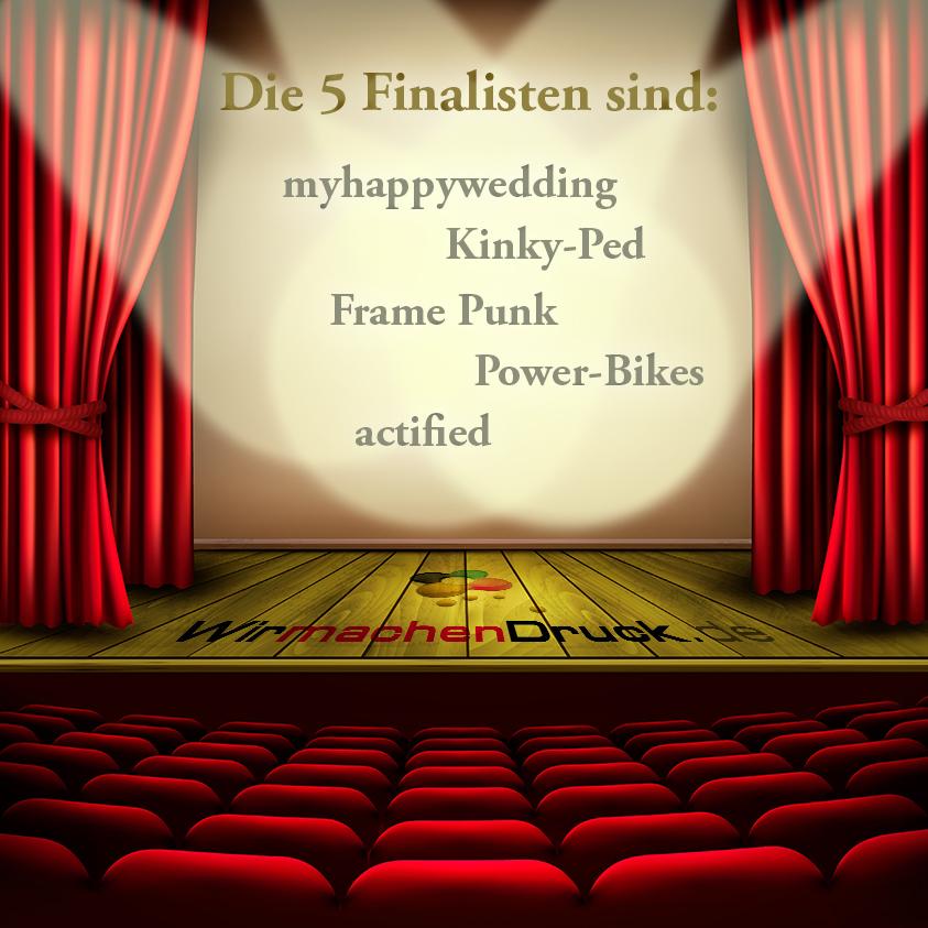 Finalisten des WIRmachenDRUCK-Gründerwettbewerbs
