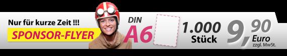 Sponsorflyer nur für kurze Zeit: 1000 x DIN A6 = 5,00 Euro