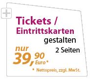 Eintrittskarten und Tickets günstig gestalten lassen - xeaven.de - nur 39,90 Euro